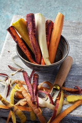 Colorful peeled carrots