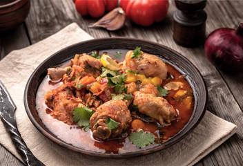 Rustic stewed chicken