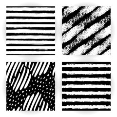 Set seamless pattern with black and white striped. Grunge style. Hand-drawn stripes, brush strokes, stars. Beautiful vector fashionable floral exotic background.