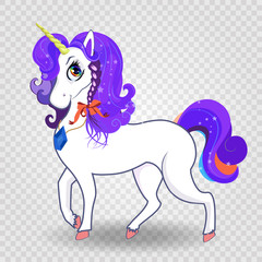 magical unicorn with purple mane and rainbow eyes on transparent background.