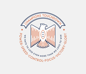 American football badge with winner quotes