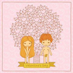 Valentine's Day cartoon card with cute loving couple. Vector hand drawing illustration