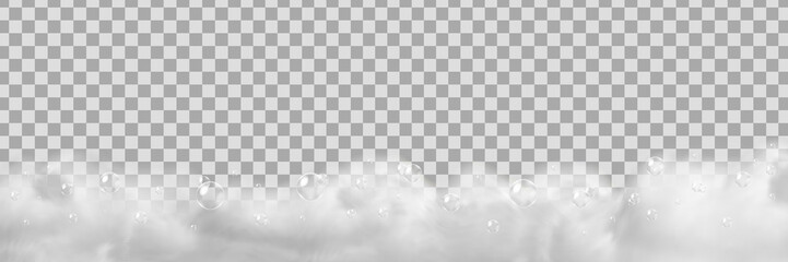 Vector realistic isolated soap foam for decoration and covering on the transparent background.