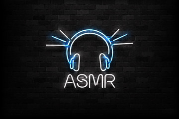 Vector realistic isolated neon sign of ASMR logo for decoration and covering on the wall background.