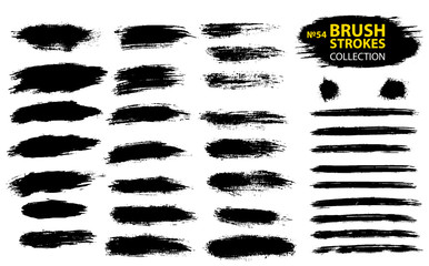 Large set different grunge brush strokes. Dirty artistic design elements isolated on white background.