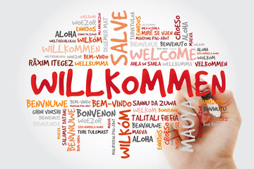 Willkommen (Welcome in German) word cloud in different languages with marker