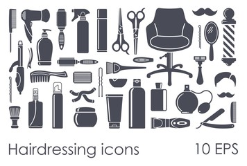 Set of flat icons Hairdressing Accessories. Vector illustration