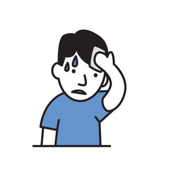 Young sweating man wipes his forehead. Flat design icon. Colorful flat vector illustration. Isolated on white background.