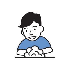 Smiling guy washing hands. Flat design icon. Colorful flat vector illustration. Isolated on white background.