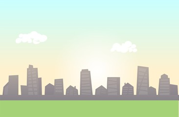 Vector cityscape skyline with green meadow in the foreground. Colorful flat line vector illustration. Horizontal.