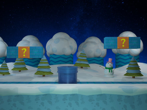 Snowy video game background - 3D illustration