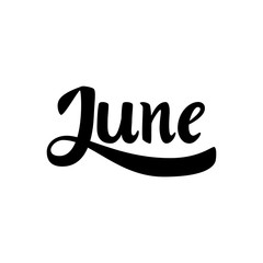June. Name of the month. Handwritten Lettering. Text. Modern Calligraphy. Vector.