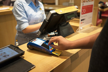 Customer paying order by credit card