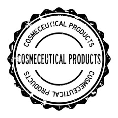Grunge black cosmeceutical product word round rubber seal stamp on white background