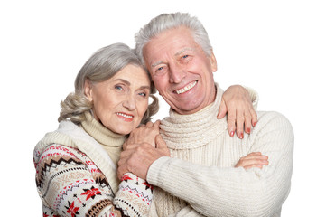 Close up portrait of smiling mature couple