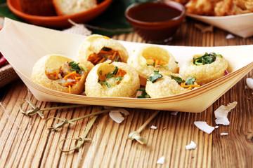 Pani Puri indian street food. Golgappe, Chat item, India.