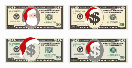 Design template 50 Dollars Banknote with Santa Claus and red hat. Fifty dollar bill for Christmas sales. Suitable for discount cards, leaflet, coupon, flyer, vouchers. Vector in flat style. Isolated.