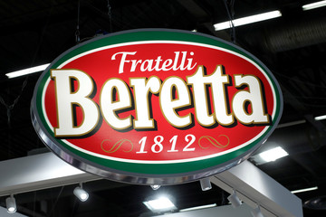 The logo of the Beretta Group is pictured at the SIAL food exhibition in Villepinte, near Paris