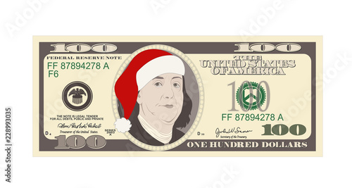 Design Template 100 Dollars Banknote With Santa Red Hat One Hundred Dollar Bill For Christmas