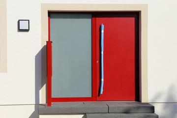 Modern red front door