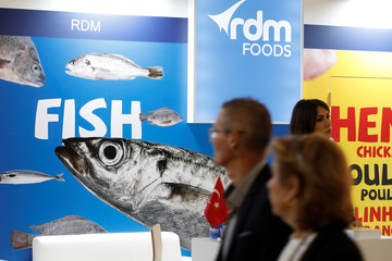 RDM Foods logo is seen at the SIAL food exhibition in Villepinte, near Paris