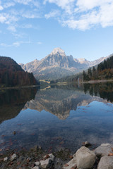 Wall Mural - autumn color mountain landscape and lake in the Swiss Alps