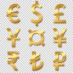 Golden currency sign set. Vector golden euro, dollar, pound, yen, yuan, rupee, lira and rouble signes isolated on transparent background.