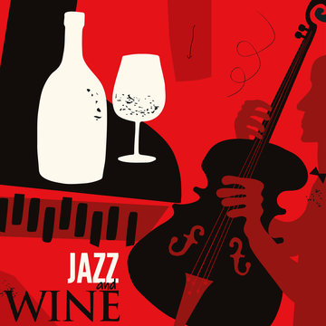 Music and wine background flat vector illustration. Party flyer, jazz music club, wine tasting event, wine festival and celebrations poster design for brochure, invitation card, menu, promotion banner