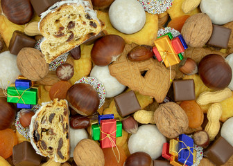 Weihnachtshintergrund aus verschiedenen Sorten von Weihnachtsleckereien