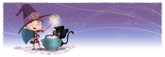 niña bruja feliz con caldero y gato