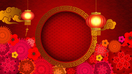 Chinese New Year also known as the Spring Festival. Digital particles loop background with Chinese ornament and decorations