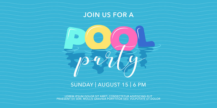 Pool party background with inflatable rings in swimming pool vector illustration