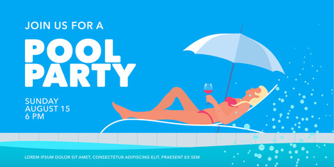 Pool party banner with girl in the sunbed next to swimming pool vector illustration