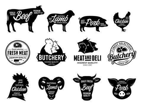 Vector butchery logo and farm animals icons