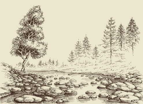 River drawing. Water flow, rocks and nature landscape sketch