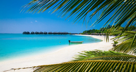 Beautiful beach with white sand at tropical Olhuveli island,  Maldives.