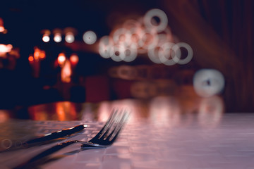 blurred background in restaurant interior / serving and details in blurred bokeh background, concept catering, restaurant modern