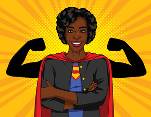 Vector color illustration of successful African American business woman. Strong lady with crossed arms wearing superhero clothes. Super woman in an office. Concept  banner of a woman power