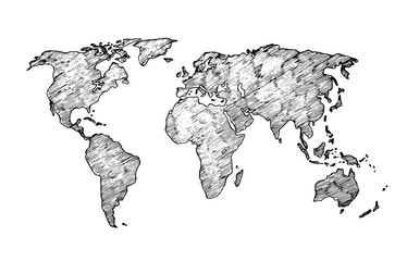 Fototapete - World map sketch. Earth continents rough drawing. Scribble classroom vector map isolated. Illustration of world sketch map, africa and europe, america and asia