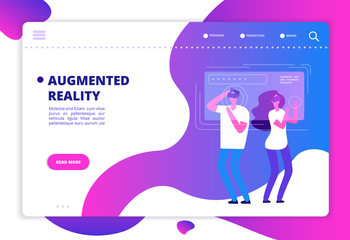 Virtual reality concept. People with vr future gadgets. Web site vector template. Vr gadget device, virtual headset for game in cyberspace illustration