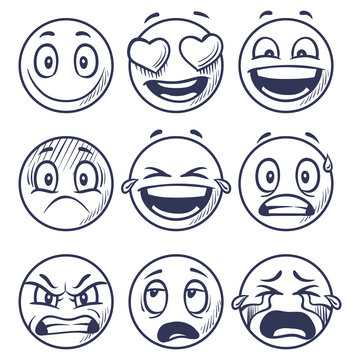 Sketch smiles. Doodle smiley in different emotions. Hand drawn smiling faces, emoticons vector set. Face doodle emotion, smiley emoji sketch