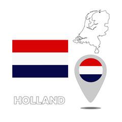 Flag. Map. Pointer of Holland, Netherlands