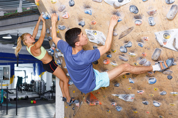 Couple of climbers on joint workout