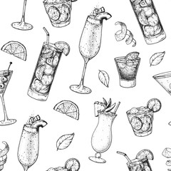 Cocktails hand drawn seamless pattern. Vector illustration. Alcoholic cocktails sketch set. Engraved style. Design template for bar.