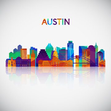 Austin skyline silhouette in colorful geometric style. Symbol for your design. Vector illustration.