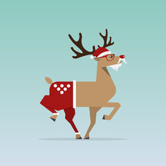 Christmas Reindeer in flat design for Christmas holiday decoration. Cartoon character. Vector. Illustration.