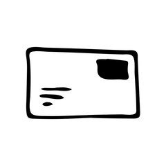 Handdrawn envelope doodle icon. Hand drawn black sketch. Sign symbol. Decoration element. White background. Isolated. Flat design. Vector illustration