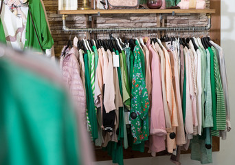 Image of collection clothes in the showroom