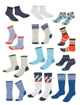 Set of different men's socks