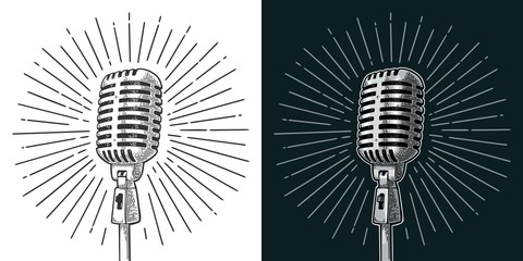 Microphone with ray. Vintage vector black engraving illustration Fototapete